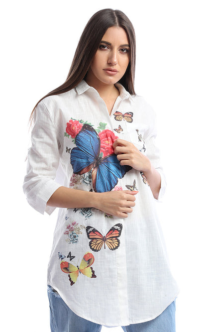 54375 Butterfly Printed White Detail Shirt