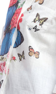 Butterfly Printed White Detail Shirt