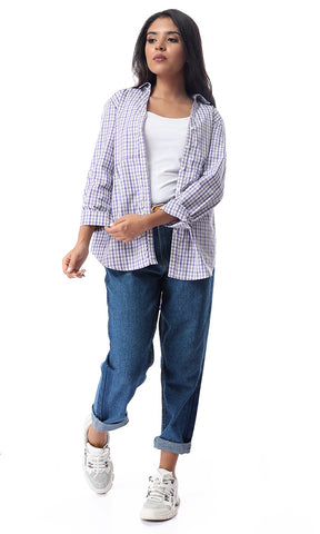 54378 Shepherd's Checks Buttoned Purple Long Sleeves Shirt
