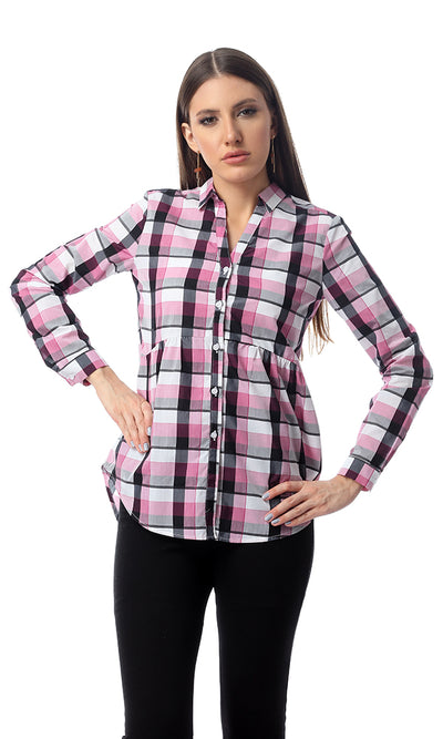 Long Sleeves Plaids Shirt With Open V-Neck - Eggplant & White