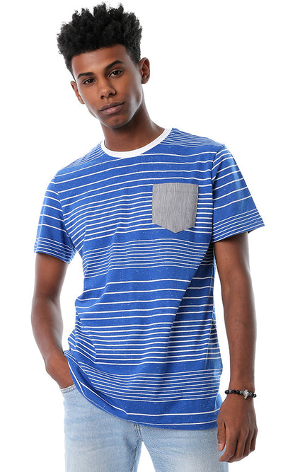 54382 Striped Round Neck Blue T-shirt With Front Pocket