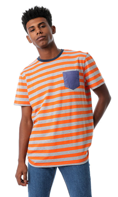 Striped Orange T-shirt With Front Pocket