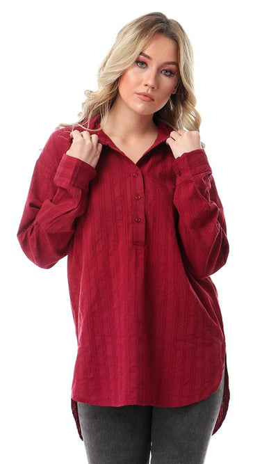 54393 Long Sleeves Self Patterned Tunic Top - Burgundy