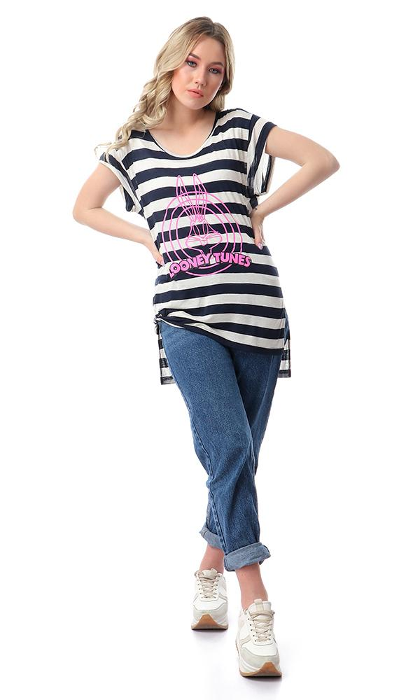 54399 Looney Tunes Side Slits Tee - Navy Blue & White - Ravin