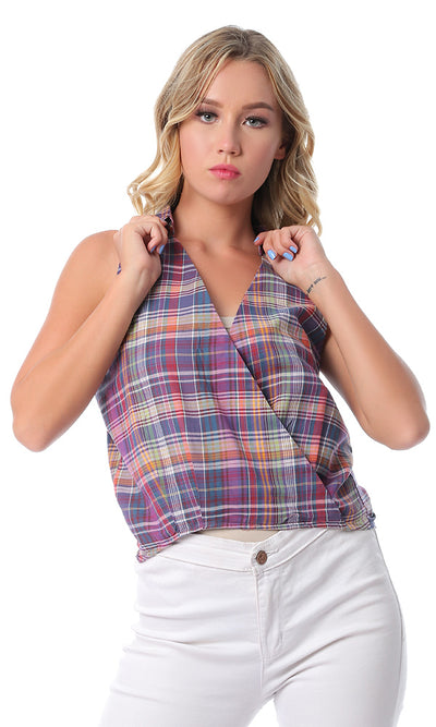 54404 Plaids Sleeveless Hi-Low Multicolour Buttoned Top