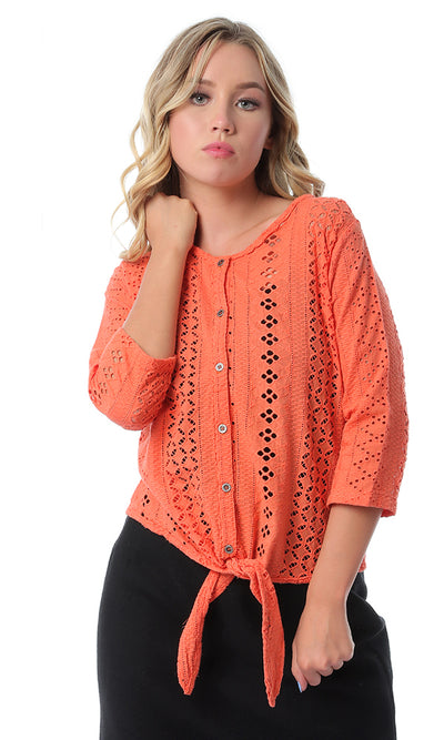 54406 Perforated Buttoned Orange Shirt With Tie