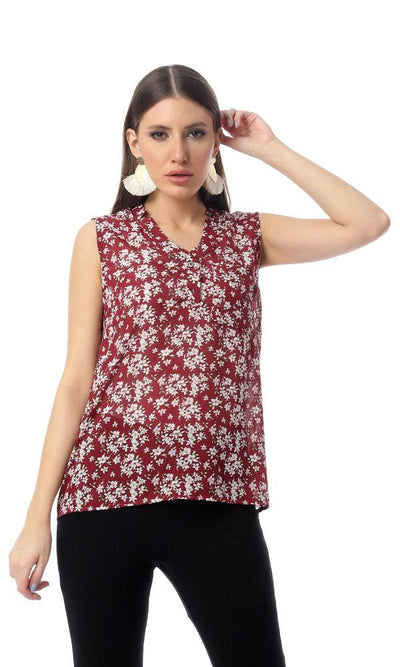 54410 Summer Floral Sleeveless Chiffon Blouse - Burgundy