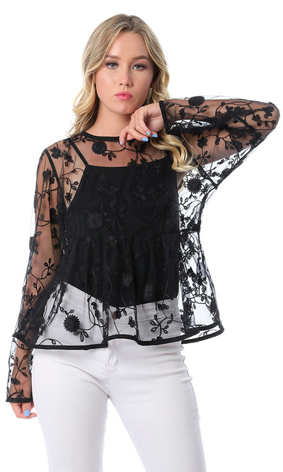 Sheer Floral Black Simple Embroidered Blouse