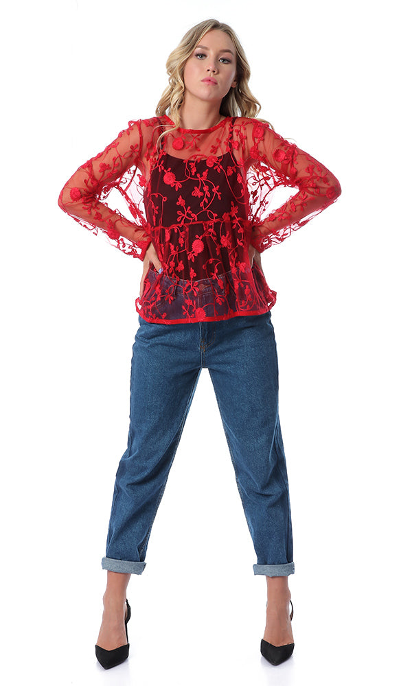 Sheer Floral Red Simple Embroidered Blouse