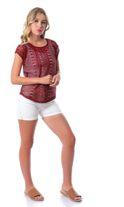 54482 Round Neck Perforated Slip On Burgundy T-shirt