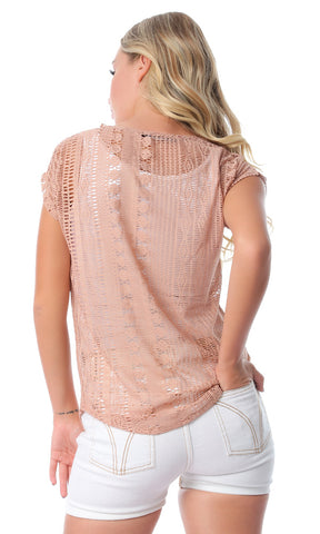 54483 Cap Sleeves Perforated Slip On Nude T-shirt
