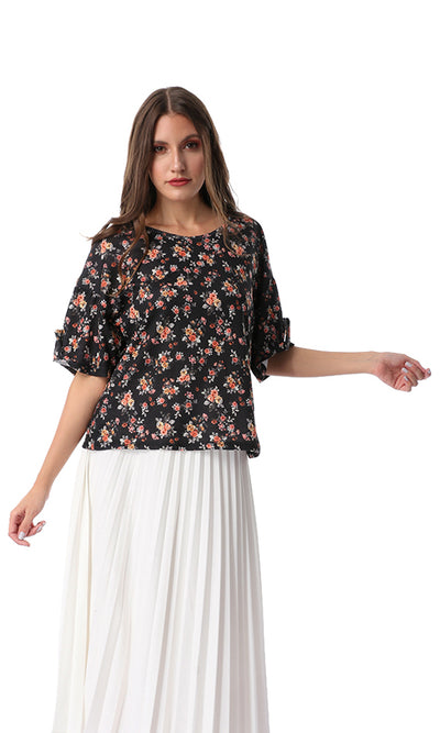 54489 Loose Floral Half Sleeves Tee