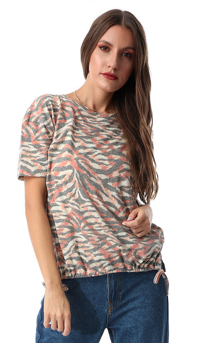 Drawstring Cropped Zebra Pale Multcolour Tee
