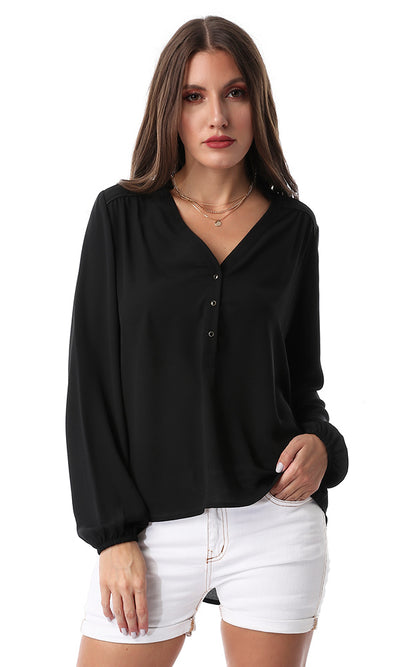 Black Button Chiffon Solid Shirt