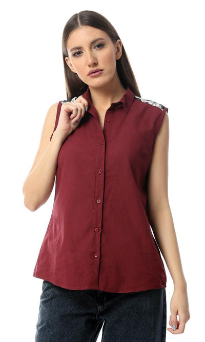 54518 Back Decorative Crochet Burgundy Sleeveless Shirt