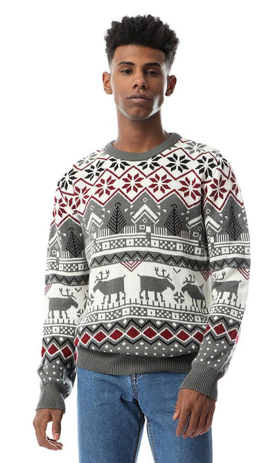 55014 Patterned Winter Comfy Men Pullover Multicolour