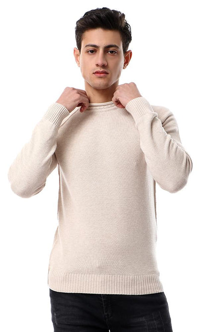 55031 Knitted Winter Beige Pullover With Front Detailing