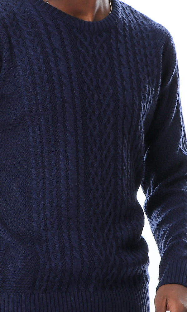 55035 Round Neck With Braids Knit Pullover - Navy Blue