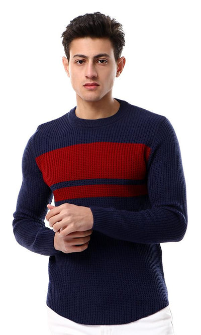 55038 Navy Blue Knitted Pullover With Front Burgundy Touch - Ravin