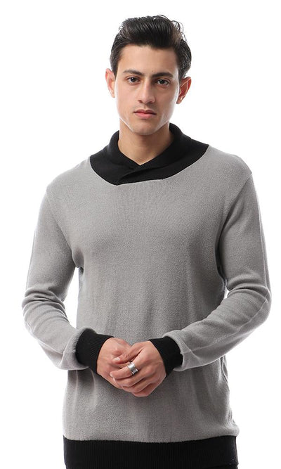 55043 Casual Turn Down Collar Grey Sweater - Ravin