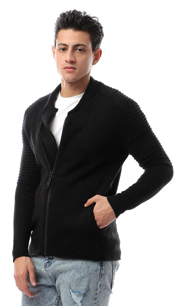 55047 Knitted Front Zipper Black Sweater - Ravin