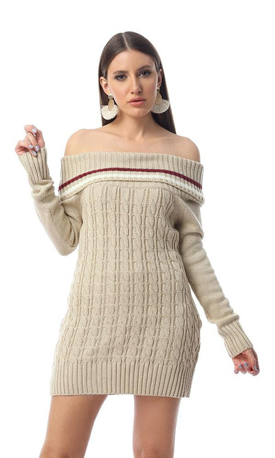 55055 Turn Down Collar Knitted Long Pullover - Beige - Ravin