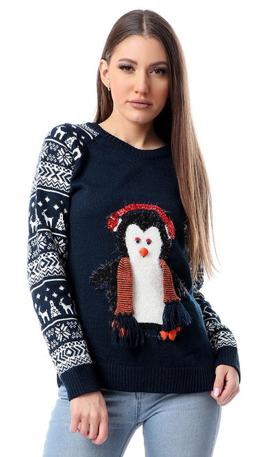 55059 Navy Blue Knitted Penguin Slip On Winter Pullover