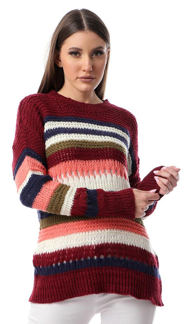 55081 Perforated Striped Knit Multicolour Pullover - Ravin
