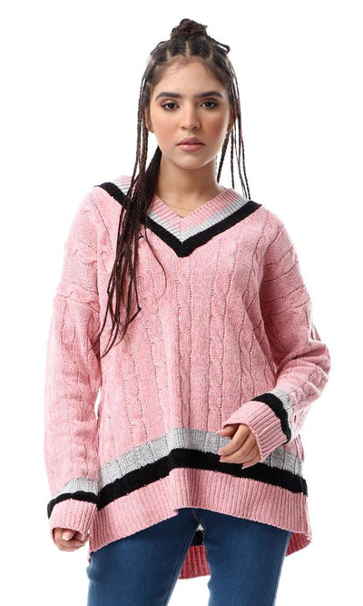 55084 Lined V-Neck With Shiny Touch Pink Soft Pullover