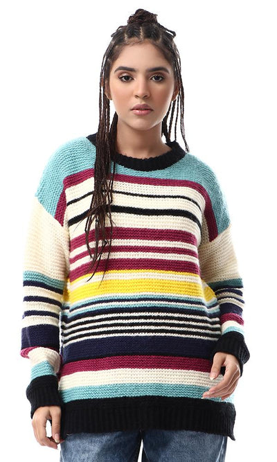 55087 Colorful Knitted Stripes Slip On Pullover