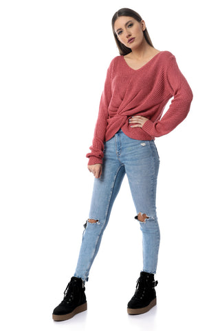55089 Knitted Reversible Twist Long Sleeve Pullover - Indian Red