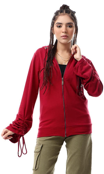 55131 Trendy Drawstring Sleeves Burgundy Solid Hoodie - Ravin