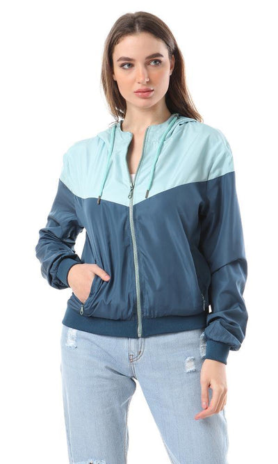 55152 Bi-Tone Fashionable Bomber Jacket - Aqua & Teal Blue