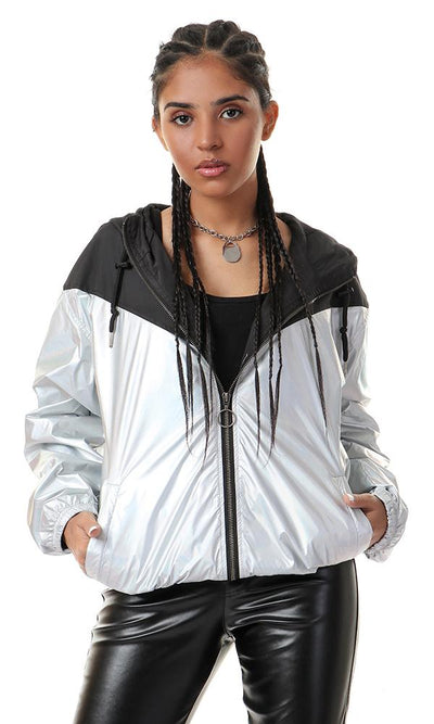 55163 Bi-tone Tredny Silver And Black Zipped Jacket - Ravin