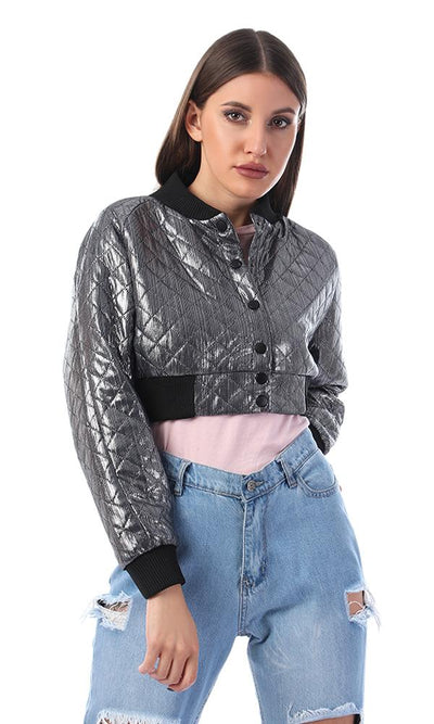 55164 Quilted Cropped Shiny Buttoned Jacket - Pewter - Ravin