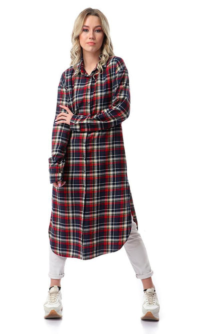 55186 Plaids Long Sleeve Butooned Shirt - Navy Blue & Red