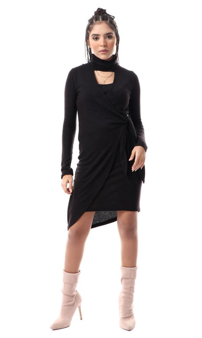 55196 Self Lace Up Black Short Dress With Turtle Neck - Ravin
