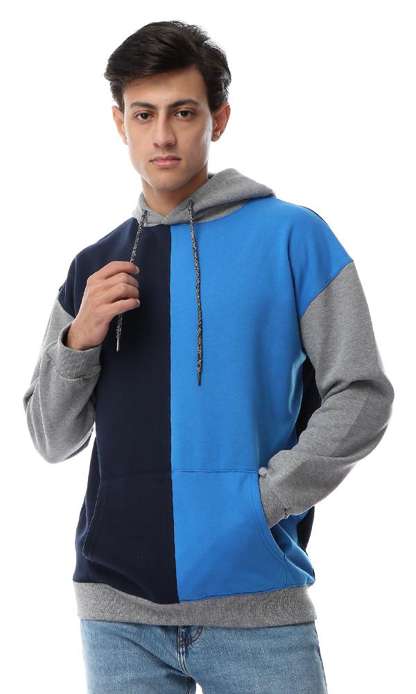 55208 Tri-Tone Hooded Neck With Drawstring Multicolour Sweatshirt - Ravin