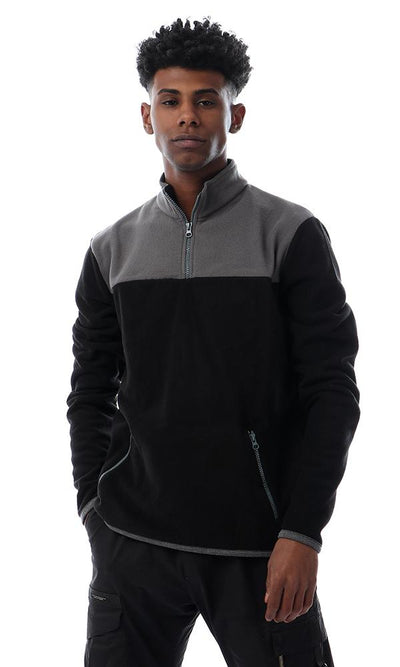 55212 Thermal Zip Through Neck Black Sweater