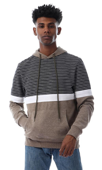 55214 Casual Striped Kangaroo Pocket Khaki Hoodie