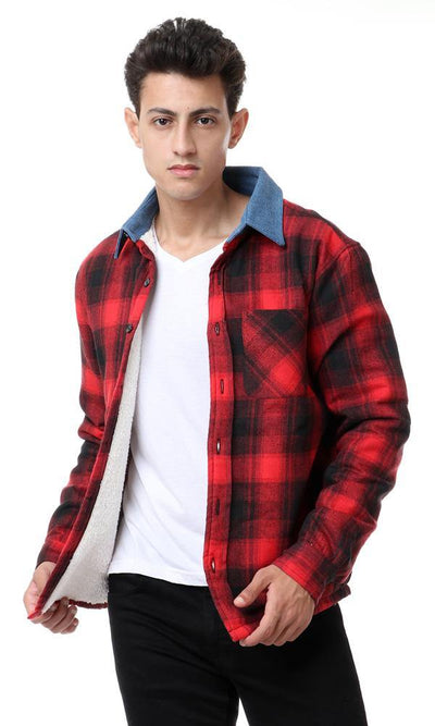 55222 Fur Padded Plaids Winter Shirt - Red & Black - Ravin
