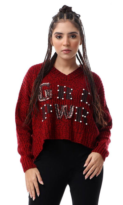 55232 Front Knits With Pearls Loose Pullover - Heather Burgundy