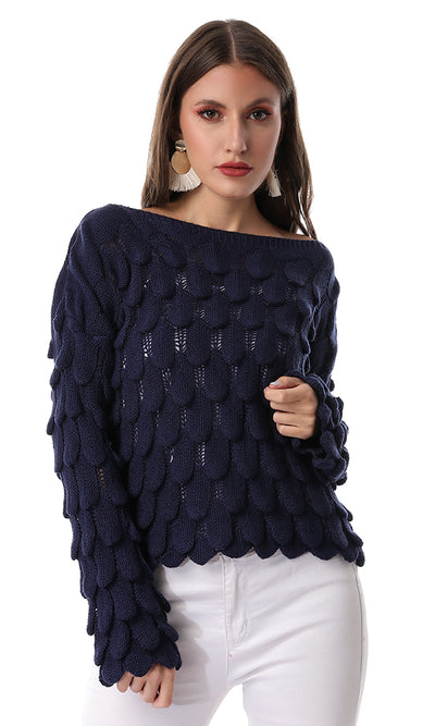 55238 Round Neck Comfy Knitwear Navy Blue Pullover
