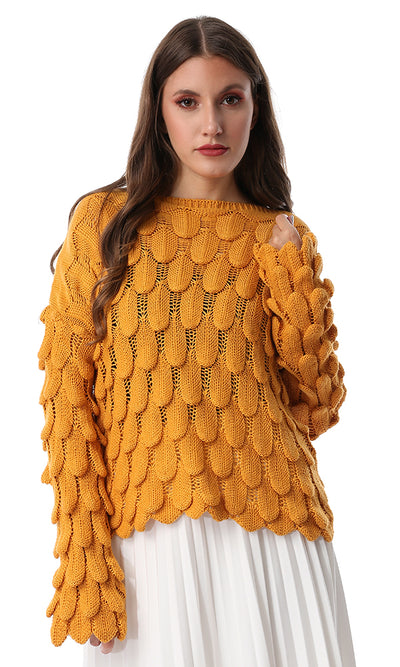 55239 Mustard Trendy Knitted Casual Jumper