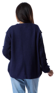 55244 Open Neckline Navy Blue Knitted Cardigan