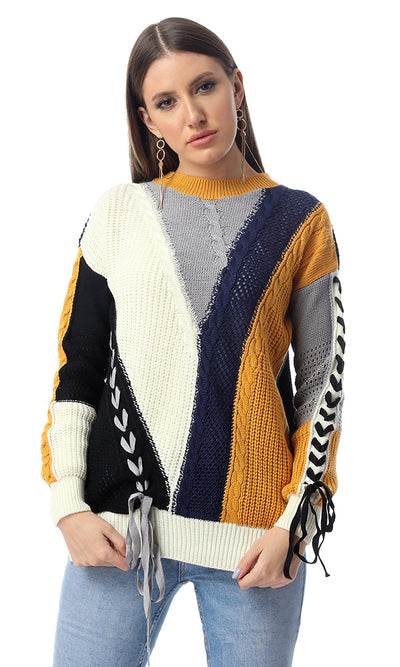 55253 Multicolour Knitted Pullover With Lace Up Sleeves