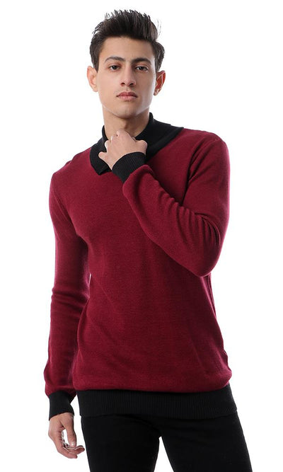55259 High Neck Casual Burgundy Pullover