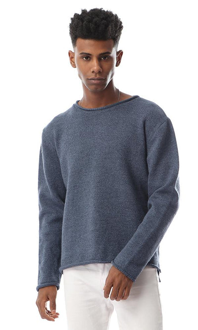 55270 Simple Round Heather Steel Blue Pullover - Ravin
