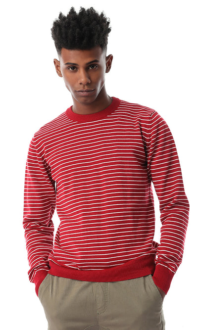 Striped Red Burgundy Pullover