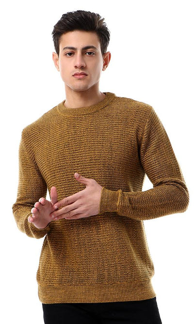 55273 Mustard & Olive Knitted Ribbed Round Neck Pullover